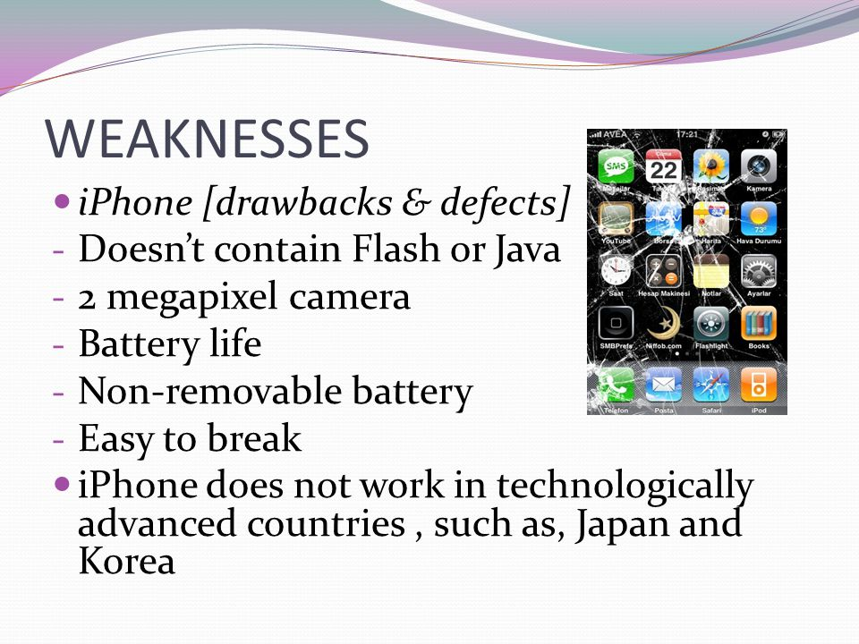 WEAKNESSES iPhone [drawbacks & defects] Doesn't contain Flash or Java